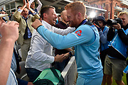 Jonny Bairstow of England celebrates with friends or family after winning the Cricket World Cup trophy during the ICC Cricket World Cup 2019 Final match between New Zealand and England at Lord's Cricket Ground, St John's Wood, United Kingdom on 14 July 2019.