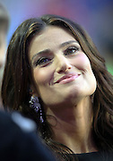 American actress and singer-songwriter Idina Menzel smiles as she gets set to sing the National Anthem before the Seattle Seahawks NFL Super Bowl XLIX football game against the New England Patriots on Sunday, Feb. 1, 2015 in Glendale, Ariz. The Patriots won the game 28-24. ©Paul Anthony Spinelli