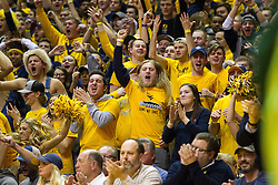 Jan 10, 2017; Morgantown, WV, USA; West Virginia Mountaineers students cheer after a made basket during the second half against the Baylor Bears at WVU Coliseum. Mandatory Credit: Ben Queen-USA TODAY Sports