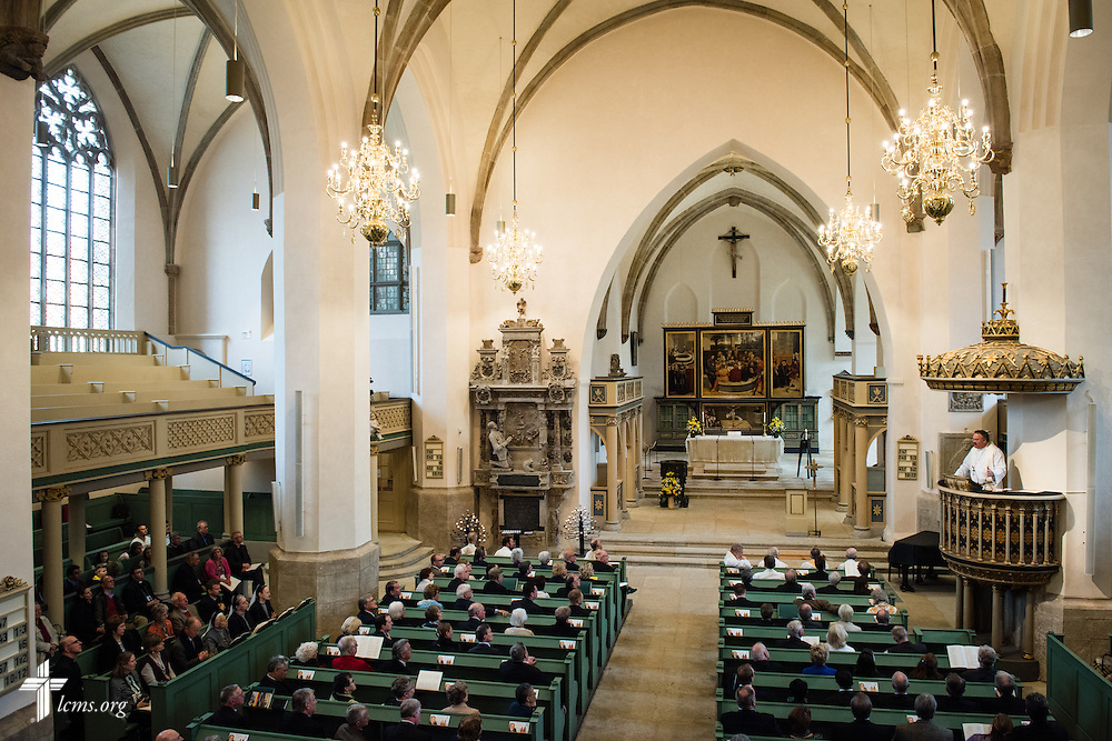 The Rev. Dr. Matthew C. Harrison, president of The Lutheran Church–Missouri Synod, preaches during the Festival Dedication Service at the Town and Parish Church of St. Mary's before the dedication of The International Lutheran Center at the Old Latin School on Sunday, May 3, 2015, in Wittenberg, Germany. LCMS Communications/Erik M. Lunsford