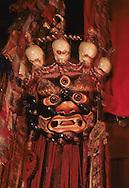 Mongolia. Erden Zuu buddhist monastery and museum Karakorum     / Masque de MAHAKALA noir,(Musee d'Erden zuu  Erden Zuu Qaraqorin Mongolie.) personnage de la danse religieuse du TSAM. (Papier mâche, XIXème siècle). (Musee d'Erden zuu  Erden Zuu Qaraqorin Mongolie.) MAHAKALA est une forme terrible du grand dieu indien SHIVA. L'aspect demoniaque de son visage, accentue par un troisième oeil, des dents proeminentes et un diadème de crânes humains, est destine à faire fuir les puissances mauvaises et les ennemis de la religion.   / /123    L920728b  /  P0007430