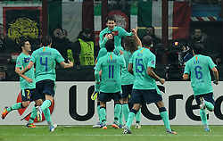 23.11.2011, Giuseppe Meazza Stadion, Mailand, ITA, UEFA CL, Gruppe H, AC Mailand (ITA) vs FC Barcelona (ESP), im Bild esultanza dopo il gol Lionel MESSI (Barcellona) goal celebration // during the football match of UEFA Champions league, group H, between Gruppe H, AC Mailand (ITA) and FC Barcelona (ESP) at Giuseppe Meazza Stadium, Milan, Italy on 2011/11/23. EXPA Pictures © 2011, PhotoCredit: EXPA/ Insidefoto/ Alessandro Sabattini..***** ATTENTION - for AUT, SLO, CRO, SRB, SUI and SWE only *****