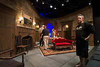 Major Metcalf played by Richard Brundage stands on the Mousetrap set following the final performance Saturday evening.  (Karen Bobotas/for the Laconia Daily Sun)