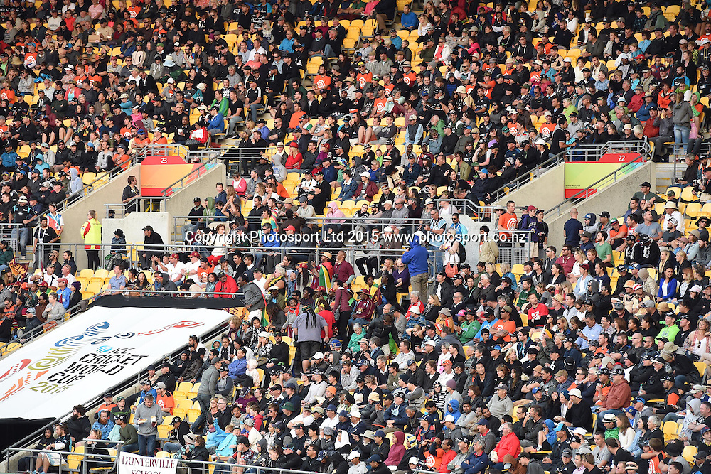 Fans during the ICC Cricket World Cup Quaterfinal match between New Zealand and West Indies at Westpac Stadium in Wellington, New Zealand. Saturday 21  March 2015. Copyright Photo: Raghavan Venugopal / www.photosport.co.nz