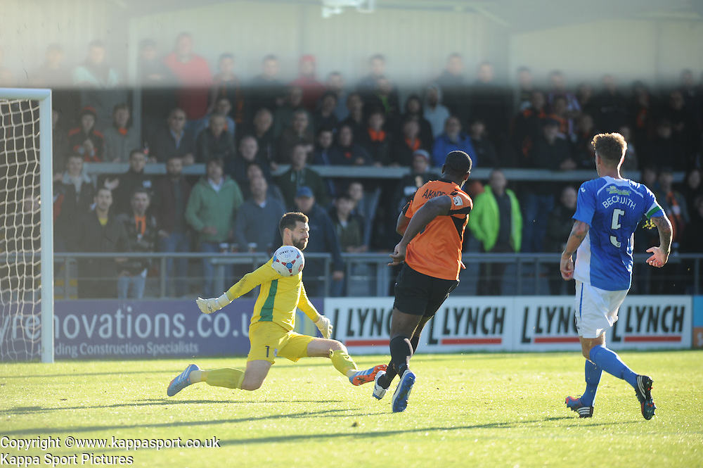 Barnets John Akinde beats Eastleighs Keeper and an open goal, but the ball goes over the cross bar, Barnet v Eastleigh, Vanarama Conference, Saturday 4th October 2014