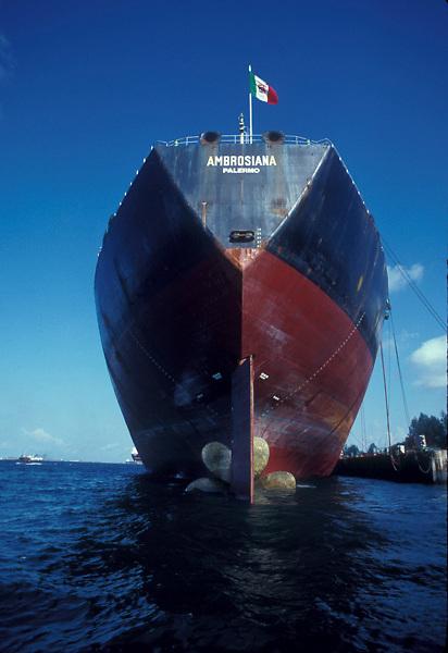 Large tanker docked at the port