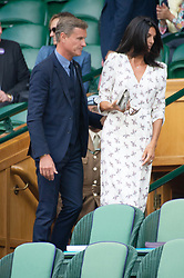 © Licensed to London News Pictures. 11/07/2018. London, UK. Karen Coulthard and David Coulthard watches centre court tennis in the royal box at the Wimbledon Tennis Championships 2018, at the All England Lawn Tennis and Croquet Club. Photo credit: Ray Tang/LNP