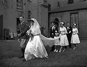 29/08/1959<br /> 08/29/1959<br /> 29 August 1959 <br /> Wedding of Lt. R.A. (Tony) Wall, 10 Fianna Road, Thurles, Co. Tipperary and Artillery Barracks, Kildare, Captain of last year's Senior All-Ireland Tipperary Hurling team, and Miss Elizabeth Barclay of New Bride Street, Dublin at the Church of St Nicholas of Myra, Francis St., Dublin. The Matron of Honour was Mrs. Kay Fitzpatrick (sister of the Bride) an the Bridesmaid was Miss Helen Wall (sister of Groom). Mr. Aidan Wall (brother of Groom) was Bestman and Mr. John Barclay (brother of the Bride) was Groomsman.