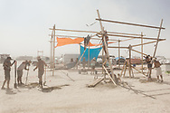 Burners building their camp structure. My Burning Man 2018 Photos:<br />