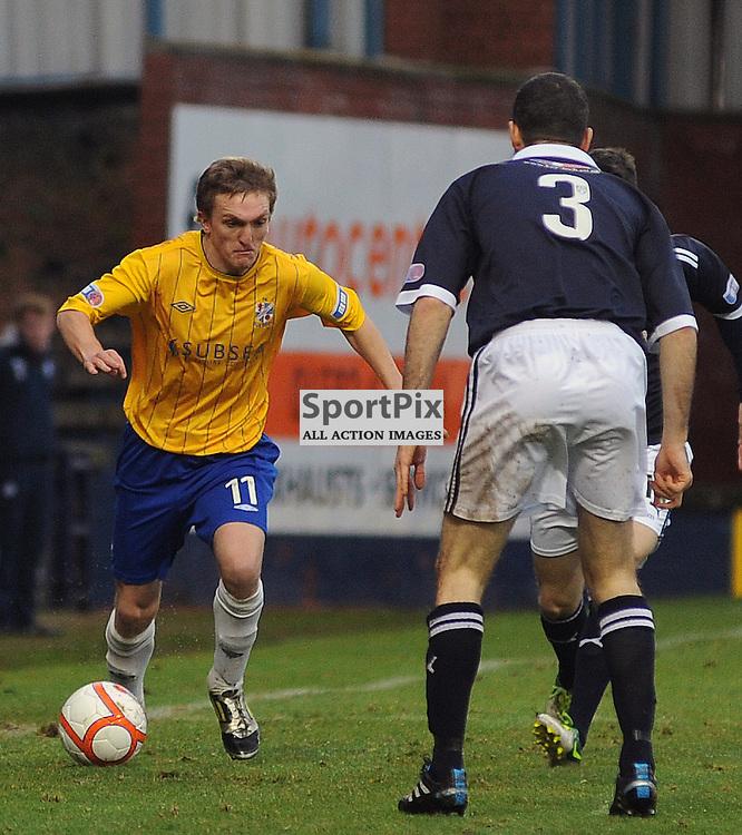Raith Rovers v Cowdenbeath, Starks Park, 29-12-12, Scottish Division 1, 29-12-12..Cowdenbreath's Dean Brett runs at Eddie Malone..(c) David Wardle | StockPix.eu