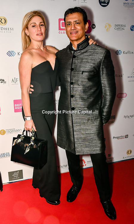 Hofit Golan and Vinay Kapoo attend the BritAsiaTV Presents Kuflink Punjabi Film Awards 2019 at Grosvenor House, Park Lane, London,United Kingdom. 30 March 2019