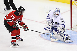 Nov 2; Newark, NJ, USA; Toronto Maple Leafs goalie Jonas Gustavsson (50) makes a save on New Jersey Devils right wing Petr Sykora (15) during the second period at the Prudential Center.