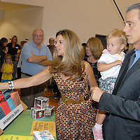 First Lady Maria Shriver and her brother Santa Monica Mayor Bobby Shriver (holding his daughter Rosemary, 18 mo.) meet and greet during the National Center on Addiction Substance Abuse's (CASA) Family Day - A Day to Eat Dinner with Your Children(TM) at the Santa Monica YMCA on Tuesday, September, 28, 2010.