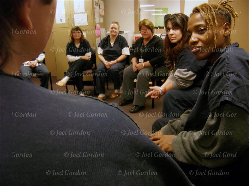Female Detention Center Facility - Orange County Jail female inmates - New Beginnings - Residential Substance Abuse Treatment -12 step model followed by aftercare upon completion of the  program, and release from custody. designed to address issues in a holistic way to assist individuals to establish and maintain a lifestyle free of substance use and crime.  group sitting in circle