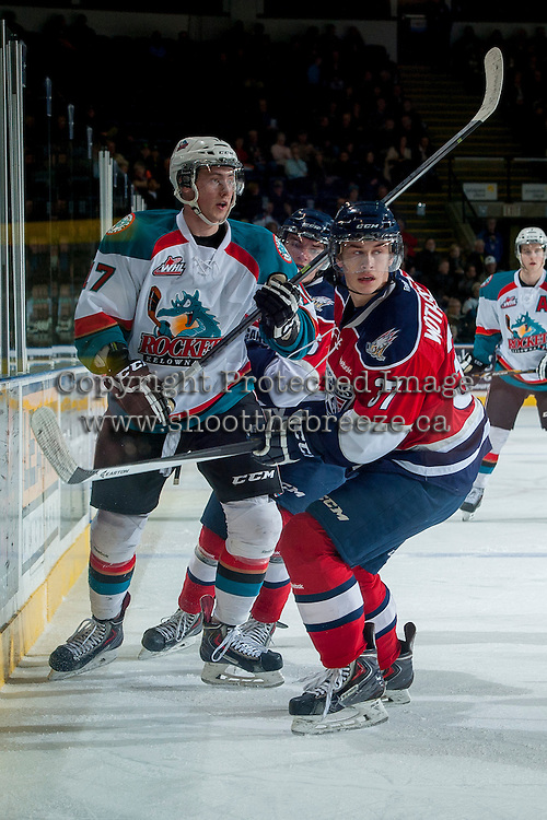 KELOWNA, CANADA -FEBRUARY 19: Parker Wotherspoon #37 of the Tri City Americans checks Marek Tvrdon #17 of the Kelowna Rockets during first period on February 19, 2014 at Prospera Place in Kelowna, British Columbia, Canada.   (Photo by Marissa Baecker/Getty Images)  *** Local Caption *** Parker Wotherspoon; Marek Tvrdon;