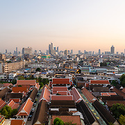 Bangkok skyline at sunset from Golden Mountain
