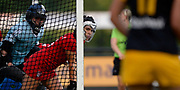 Monkstown's Amber Barnwell at a penalty corner during their opening game of the EHCC 2017 at Den Bosch HC, The Netherlands, 2nd June 2017