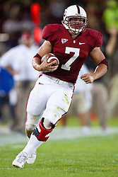 September 26, 2009; Stanford, CA, USA; Stanford Cardinal running back Toby Gerhart (7) rushes up field against the Washington Huskies during the third quarter at Stanford Stadium. Stanford defeated Washington 34-14. Mandatory Credit: Jason O. Watson-US PRESSWIRE