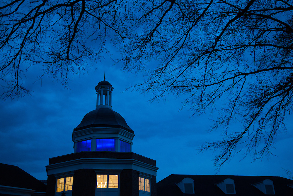 "The Baker University Center at Ohio University  takes part in the ""Light it Up Blue"" which is a national campaign for Autism Awareness Month. Photo by Ohio University / Jonathan Adams"