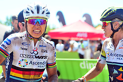 WELLINGTON SOUTH AFRICA - MARCH 22: Sabine Spitz and Robyn de Groot at the finish of stage three's 111km from Wellington to Worcester on March 22, 2018 in Western Cape, South Africa. Mountain bikers gather from around the world to compete in the 2018 ABSA Cape Epic, racing 8 days and 658km across the Western Cape with an accumulated 13 530m of climbing ascent, often referred to as the 'untamed race' the Cape Epic is said to be the toughest mountain bike event in the world. (Photo by Dino Lloyd)