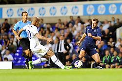 Dinamo Tbilisi's Giorgi Merebashvili is tackled by Tottenham Hotspur's Sandro  - Photo mandatory by-line: Dougie Allward/JMP - Tel: Mobile: 07966 386802 27/08/2013 - SPORT - FOOTBALL - White Hart Lane - London - Tottenham Hotspur V Dinamo Tbilisi -  UEFA EUROPA LEAGUE - PLAY-OFF - SECOND LEG