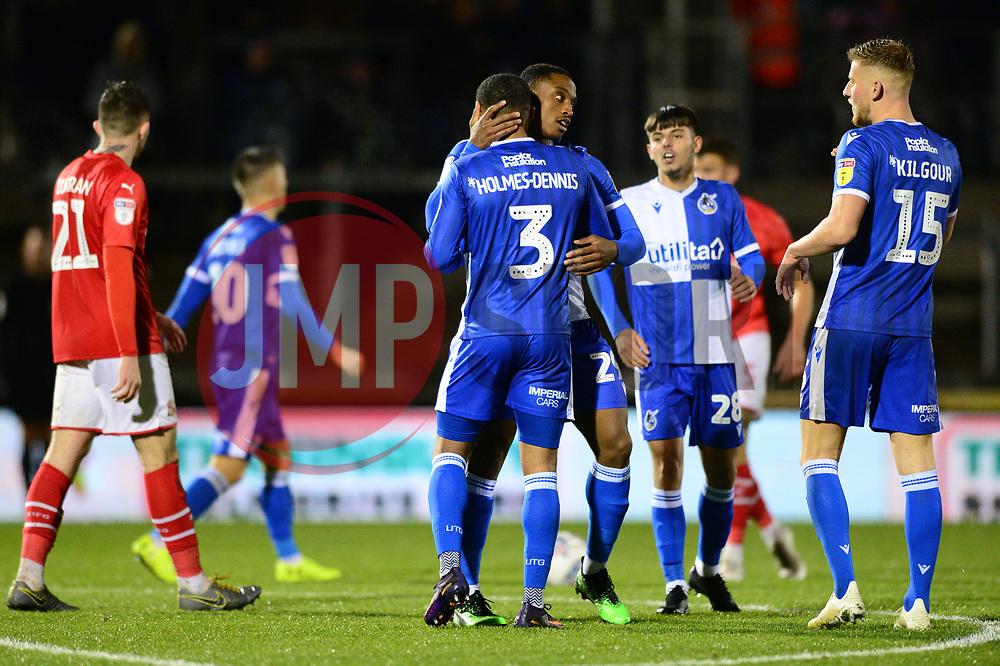 Tareiq Holmes-Dennis of Bristol Rovers celebrates with Victor Adeboyejo of Bristol Rovers - Mandatory by-line: Dougie Allward/JMP - 13/11/2019 - FOOTBALL - Memorial Stadium - Bristol, England - Bristol Rovers v Swindon Town - Leasing.com Trophy