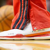 06 December 2013: Portland Trail Blazers small forward Nicolas Batum (88) pays homage to deceased former South Africa President Nelson Mandela by having 'Madiba'  and '46664' (meaning prisoner number 46, june 1964) scribbled on his game shoes during the Portland Trail Blazers 130-98 victory over the Utah Jazz at the Moda Center, Portland, Oregon, USA.