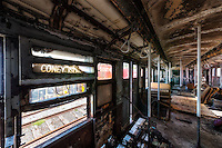The Coney Island 983 vintage subway car from New York City. The American Car & Foundry Co built subway car no. 983 in 1935. The car is more than 60 feet long and weighs just under 84,000 pounds. The car was taken out of service in 1975.