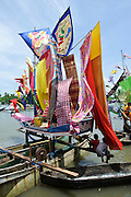 Decorated boats at the Maulid Nabi festival, Cikoang, Sulawesi, Indonesia.