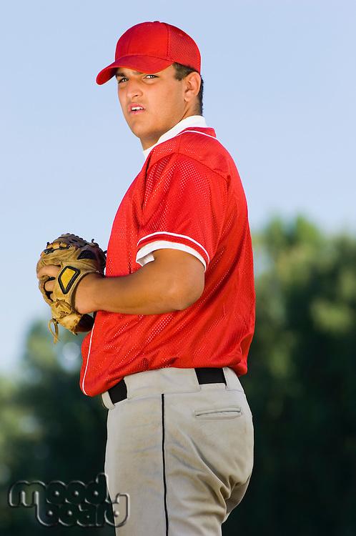 Baseball Pitcher Preparing For Pitch