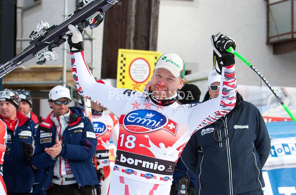 29.12.2011, Pista Stelvio, Bormio, AUT, FIS Weltcup Ski Alpin, Herren, Abfahrt, Podium, im Bild Klaus Kroell (AUT, Rang 3) // dirt place Klaus Kroell of Austria on Podium after downhill race of FIS Ski Alpine World Cup at 'Pista Stelvio' in Bormio, Italy on 2011/12/29. EXPA Pictures © 2011, PhotoCredit: EXPA/ Johann Groder