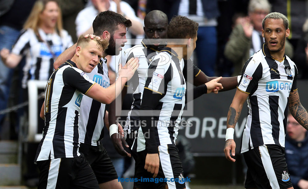 Matt Ritchie (l) of Newcastle United is congratulated on scoring to make it 2-1 during the Sky Bet Championship match at St. James's Park, Newcastle<br /> Picture by Simon Moore/Focus Images Ltd 07807 671782<br /> 01/04/2017