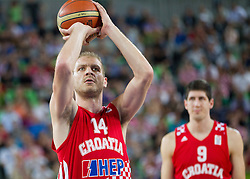 Luka Zoric #14 of Croatia during basketball match between National teams of Lithuania and Croatia in Semifinals at Day 17 of Eurobasket 2013 on September 20, 2013 in Arena Stozice, Ljubljana, Slovenia. (Photo by Vid Ponikvar / Sportida.com)