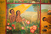 Adam and Eve Naive Paintings (Ethiopian style) of biblical stories in a church in kalacha Kenya