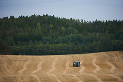 Impatient driver following the road closure drives across the fields at Ladies Tour of Norway 2018 Team Time Trial, a 24 km team time trial from Aremark to Halden, Norway on August 16, 2018. Photo by Sean Robinson/velofocus.com