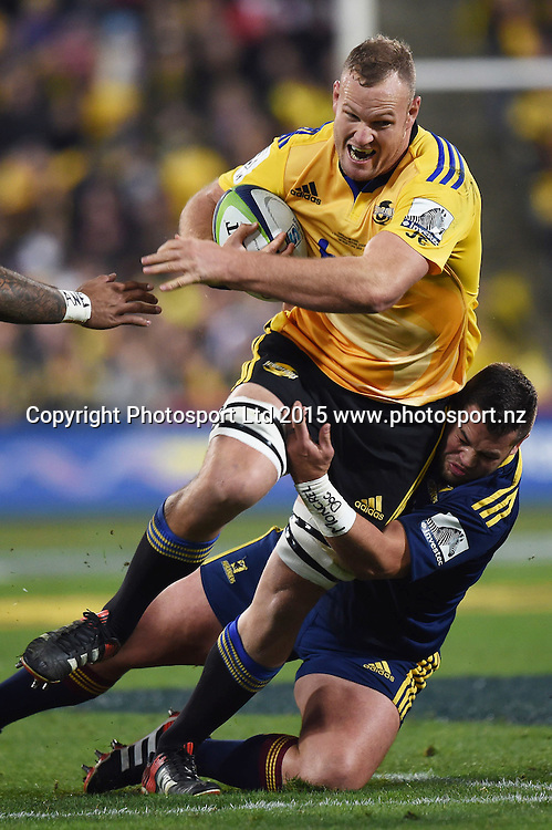 James Broadhurst of the Hurricanes during the Super Rugby Final match between the Hurricanes and Highlanders at Westpac Stadium, Wellington, New Zealand. 4 July 2015. Copyright Photo: Andrew Cornaga / www.Photosport.nz