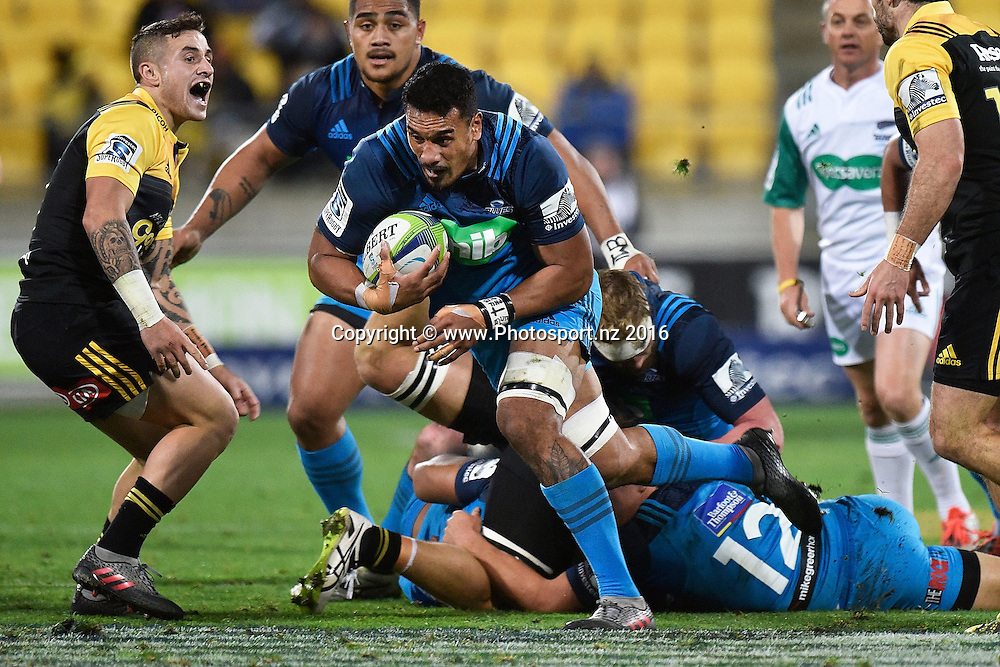 Blues' Jerome Kaino (C run with the ball during the Hurricanes vs Blues Super Rugby  match at the Westpac Stadium in Wellington on Saturday the 2nd of July 2016. Copyright Photo by Marty Melville / www.Photosport.nz