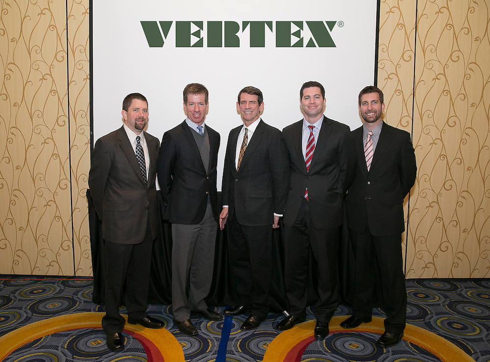 January 20, 2015, Quincy, Massachusetts:<br /> Members of Vertex Group pose for a group photo during a conference at the Quincy Marriott Hotel in Quincy, Massachusetts Tuesday, January 20, 2015.<br /> (Photo by Billie Weiss/Vertex Group)