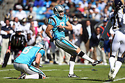 Carolina Panthers kicker Graham Gano (9) kicks a field goal that gives the Panthers a 10-2 lead during the NFL week 7 football game against the St. Louis Rams on Sunday, Oct. 20, 2013 in Charlotte, N.C.. The Panthers won the game 30-15. ©Paul Anthony Spinelli