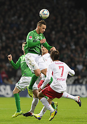 27.11.2011, Weserstadion, Bremen, GER, 1.FBL, Werder Bremen vs VfB Stuttgart, im Bild Martin Harnik (Stuttgart #7), Marko Arnautovic (Bremen #7, mit Ball) // during the match Werder Bremen vs VfB Stuttgart on 2011/11/27, Weserstadion, Bremen, Germany. EXPA Pictures © 2011, PhotoCredit: EXPA/ nph/ Frisch..***** ATTENTION - OUT OF GER, CRO *****