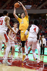 27 January 2018:  Jaume Sorolla takes a shot from the middle of the lane while surrounded by Redbirds during a College mens basketball game between the Valparaiso Crusaders and Illinois State Redbirds in Redbird Arena, Normal IL