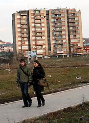 PRISTINA, KOSOVO - DECEMBER 14 - par na sprehodu