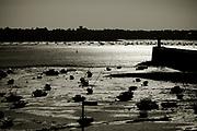 Stranded boats on Saint-Malo Beach