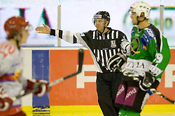 Referee between players during ice-hockey match between HD Tilia Olimpija and HK Acroni Jesenice  in 6th Round of EBEL league, on September 26, 2010 at Hala Tivoli, Ljubljana, Slovenia. (Photo By Matic Klansek Velej / Sportida.com)