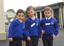 Charlie Bourke, Daragh McIntyre and Cillian Hastings junior infants Knockrooskey NS, Westport.<br /> Pic Conor McKeown