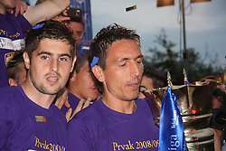 Marko Ranilovic, Zoran Pavlovic at cup ceremony  after last football match of PrvaLiga Telekom Slovenije between NK Maribor and NK Interblock, when Maribor became a Slovenian National Champion, on May 23, 2009, in Ljudski vrt, Maribor. (Photo by Marjan Kelner/Sportida)