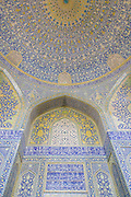 Dome of the main sanctuary. Imam Mosque (Masjed-e Imam), is a mosque in Isfahan, Iran standing in south side of Naghsh-i Jahan Square. Built 1611 - 1629. Architect: Shaykh Bahai