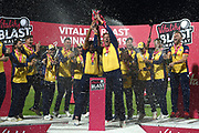 Simon Harmer and Ravi Bopara lift the Vitality Blast Trophy after beating Worcestershire during the Vitality T20 Finals Day 2019 match between Worcestershire County Cricket Club and Essex County Cricket Club at Edgbaston, Birmingham, United Kingdom on 21 September 2019.
