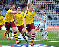 Ben Mee (r) of Burnley scores the 3rd goal during the Sky Bet Championship match at the John Smiths Stadium, Huddersfield<br /> Picture by Graham Crowther/Focus Images Ltd +44 7763 140036<br /> 12/03/2016