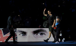 Andy Murray walks into the arena during day eight of the Barclays ATP World Tour Finals at The O2, London.